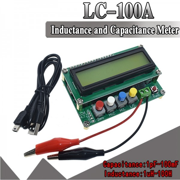 Digital LCD Capacitance meter inductance table TESTER LC Meter Frequency 1pF-100mF 1uH-100H LC100-A with Test clip