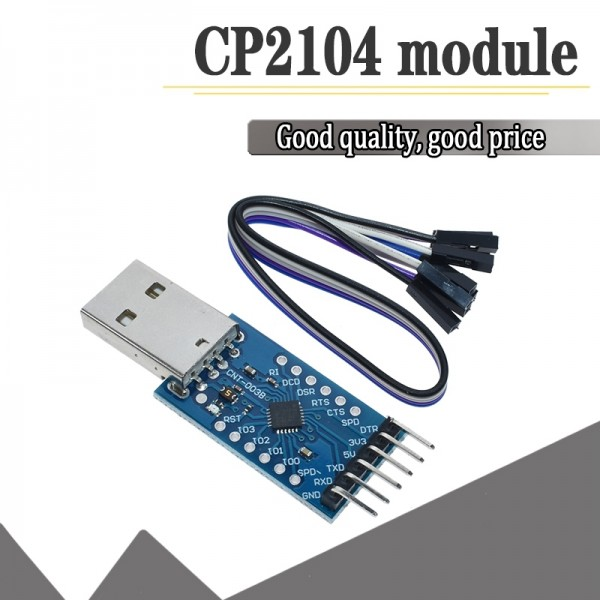 CP2104 USB 2.0 to TTL UART 6PIN Module Serial Converter STC PRGMR With Dupont Cables