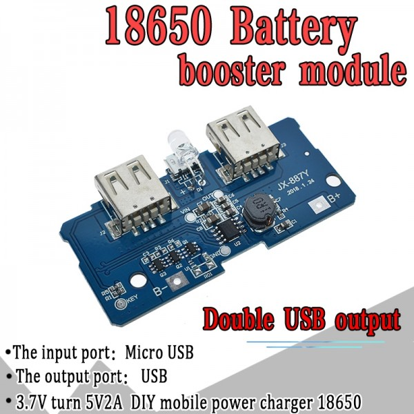 5V 2A 18650 Power Bank Charger Module Charging Circuit Board Step Up Boost Power Supply Module Dual USB Output 1A Input