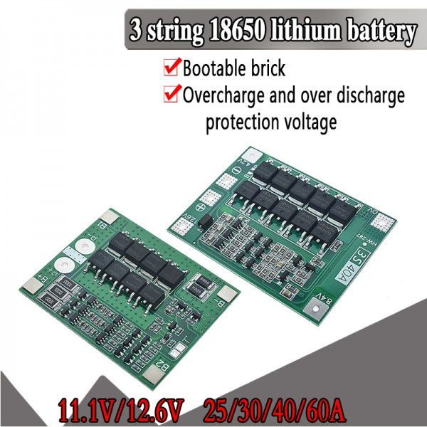 3S 25A 40A Li-ion 18650 BMS PCM battery protection board pcm with balance for li-ion lipo battery cell pack