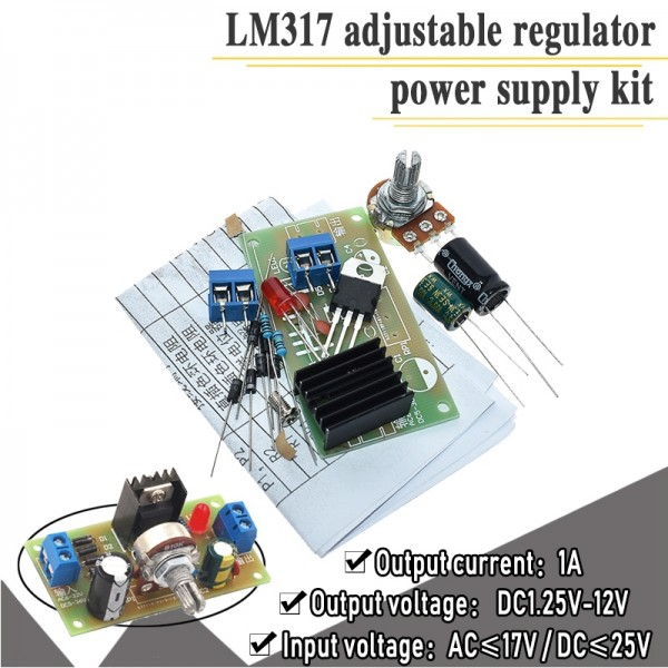 LM317 Continuous Adjustable DC Power Supply DIY Teaching Training Parts