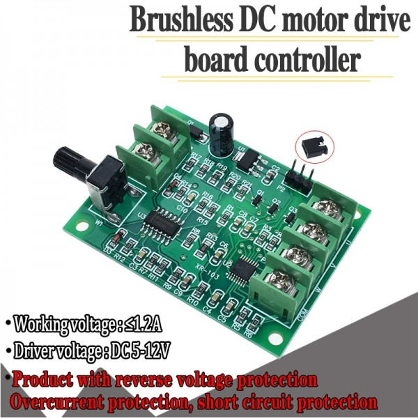 5V 12V Brushless DC Motor Driver Controller Board with Reverse Voltage Over Current Protection for 3 4 Wire Motor