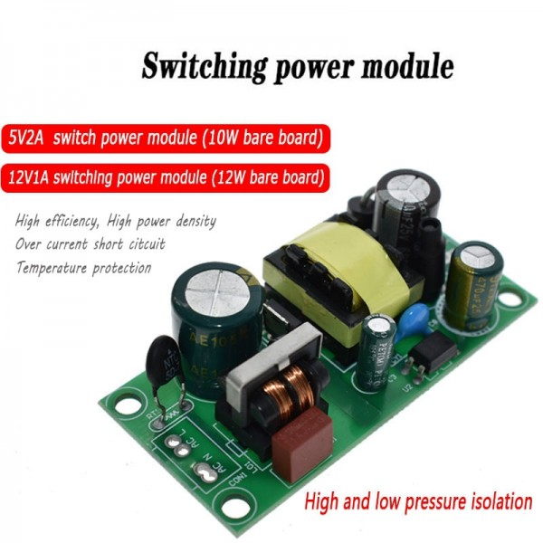 5V 2A 12V 1A AC-DC Switching Power Module Isolated Power 220V to 5V 12V Switch Step Down Buck Converter Bare Circuit Board